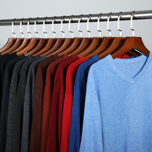 Image 1 - 14 צבע 2020 סתיו חדש גברים סרוג סוודר קשמיר סוודר מזדמן עסקים V צווארון דק Slim fit סוודרים מותג בגדים