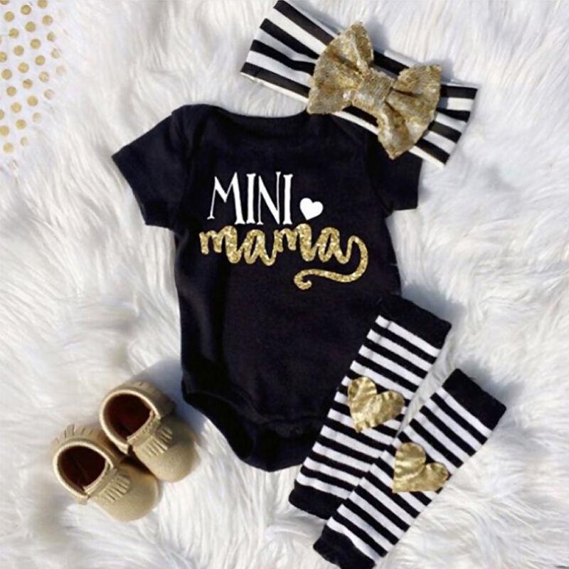 0-18M Baby Girl Bodysuit Letter Short Sleeve Striped Heart Leg Warmer Headband Outfits Summer 3PCS Cotton Sequin Glitter Bowknot