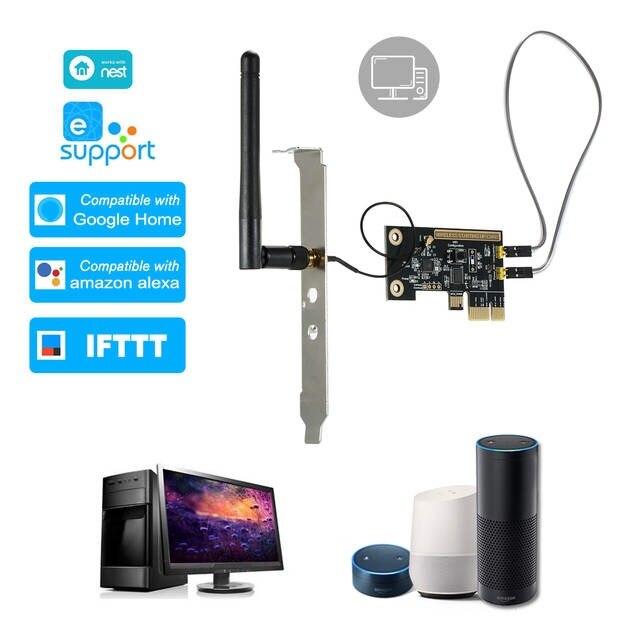 Cartão de Interruptor de Controle Wi-fi sem Fio Interruptor de Reinício Ewelink Mini Pci-e Desktop Remoto Interruptor Inteligente Relé Módulo Ligar – Desligar pc