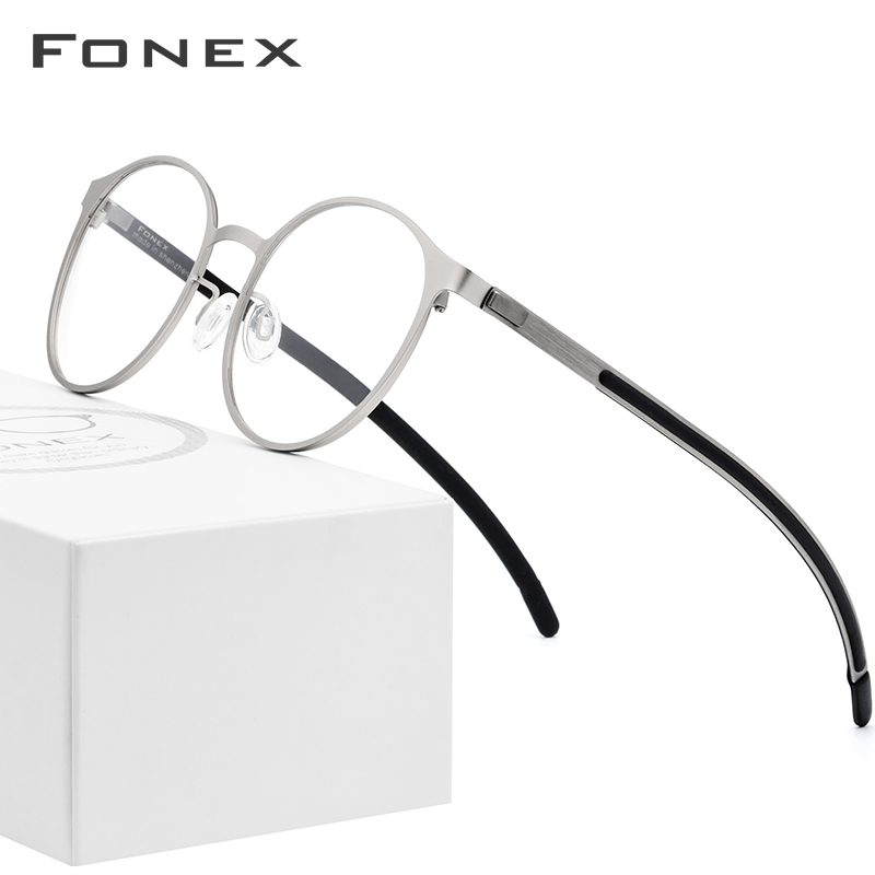 FONEX Alloy Optical Glasses Frame Men Ultralight Retro Round Myopia Prescription Eyeglasses Women Metal Full Screwless Eyewear