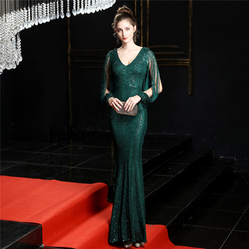 Sequined Mermaid Prom Dress Elegant V-Neck Women Party Dress DX254-4 2019 Plus Size Robe De Soiree Floor Length Evening Dresses 6