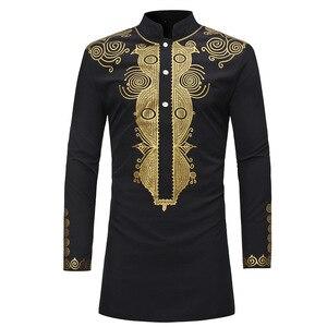 Image 1 - MD hommes africains dashiki chemise à manches longues hommes chemises traditionnel bazin t shirt afrique du sud brodé vêtements vêtements traditionnels