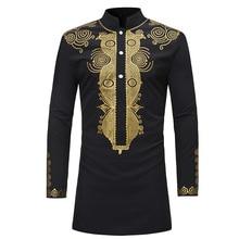 Md Afrikaanse Mannen Dashiki Shirt Lange Mouw Heren Shirts Traditionele Bazin T shirt Zuid afrika Geborduurde Kleding Traditionele Slijtage