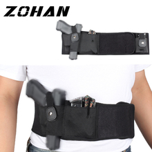 Left Right Hand Adjustable Tactical Elastic Hunting Belly Band Waist Gun Holster  Concealed Carry Universal Pistol