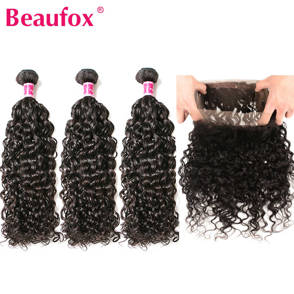 Beaufox 360 Lace Frontal Closure With Bundle Malaysian Water Wave Bundles With Frontal Human Hair 3 Bundles With Frontal Remy
