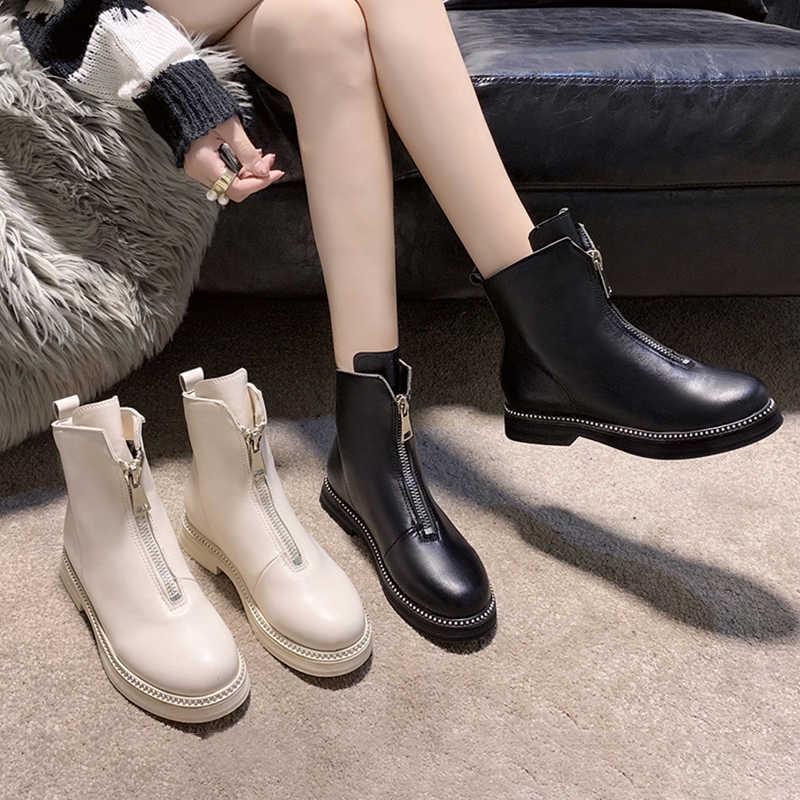 ENPLEI vrouw winter laarzen Lederen ritssluiting booty vrouwen nieuwe katoen gevoerde laarzen in herfst en winter laarzen vrouw vrouwen laarzen