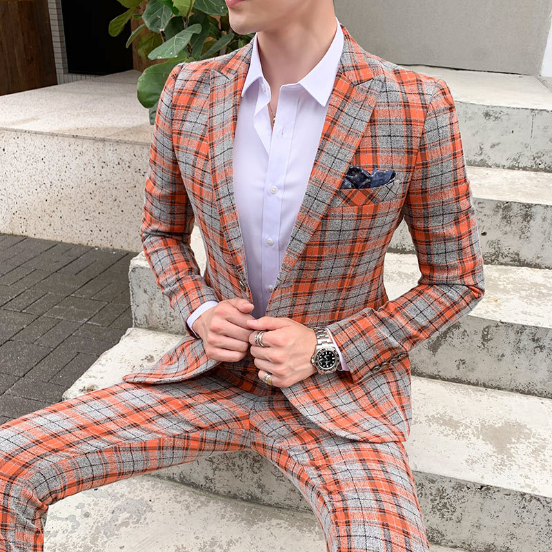 2019 Plaid Suits Check Business Traje De Boda Mens Suits Designers New Tuxedo Groom Dress Ternos Masculino Wedding Suits For Men