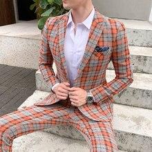 2019 격자 무늬 정장 체크 비즈니스 Traje De Boda Mens 정장 디자이너 New Tuxedo Groom Dress Ternos Masculino 남성용 결혼식 정장