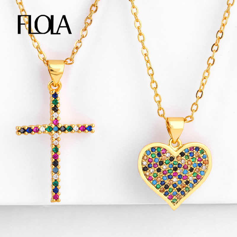 FLOLA Rainbow Cross Pendant Necklace Woman Zirconia Colored Heart Rainbow Necklace Gold Christian Jewelry collar arcoiris nkep56