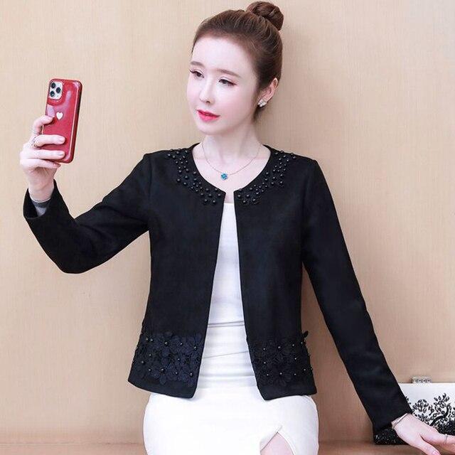 Jackets for Women Long Sleeve Jacket Women Beading O-Neck Woman Jacket 3XL 4XL  Cardigan Short Jacket Coat Women D107 3