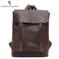 SC Luxury Italian Leather Backpack Women Large Capacity Flap Shoulder Bag Front Pocket Vintage Bag Female Retro Leather knapsack