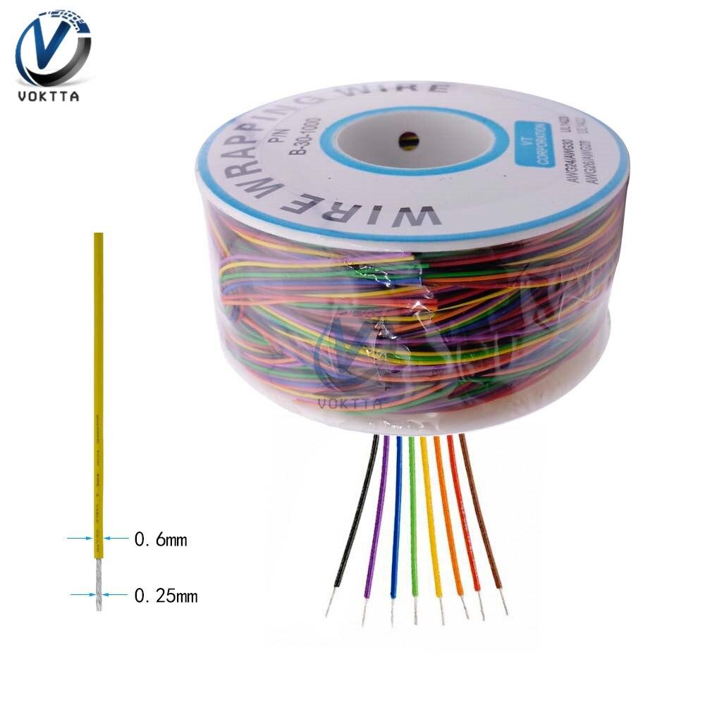 8 цветов 30AWG провода оберточная проволока B-30-1000 UL1423 0,25 мм Луженая Медь твердый ПВХ изоляционный кабель Соединительная изоляция 250 м