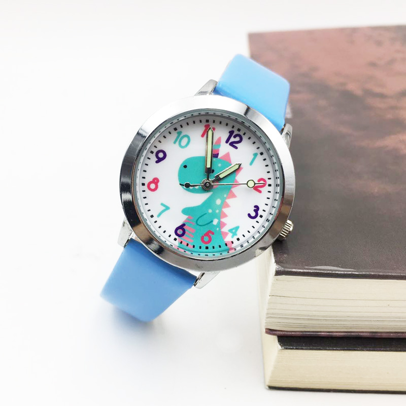 Kids Watch Cartoon Blue Unicorn Quartz Girls Watches For Children Boys Students Wrist Watch PU Leather Luminous Hands Wristwatch