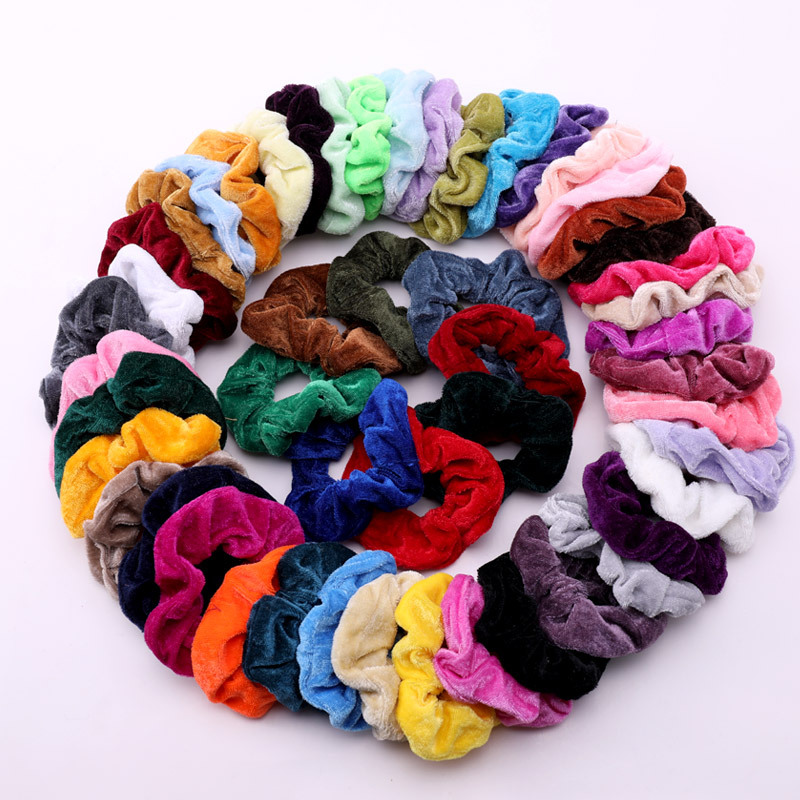 Xugar Women Colorful Velvet Soft Basic Elastic Hair Bands Ponytail Holder Scrunchie Pack Rubber Bands Wholesale Hair Accessories