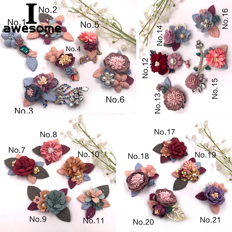 21 Styles Flowers Bridal Wedding Party Shoes Accessories For High Heels Shoes Boots DIY Manual Boots Shoe Decorations Flowers