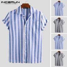 INCERUN Fashion Casual Shirt Men Striped Short Sleeve Lapel Breathable Chic Blouse Camisa Masculina Brand Shirts Men S-5XL 2021