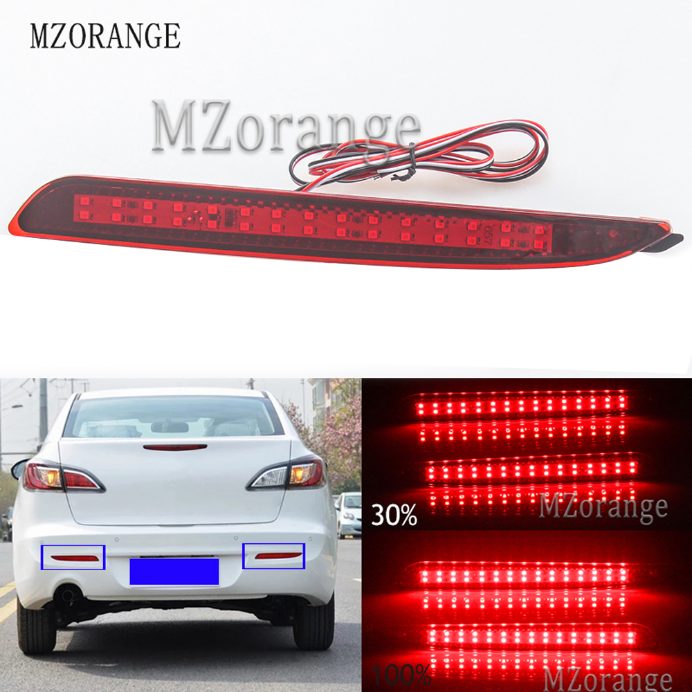 2 шт. заднего бампера Отражатели светильник для Mazda 3 2010 2011 2012 2013 2014 2015 Красный объектив Хвост Стоп бег светильник Предупреждение