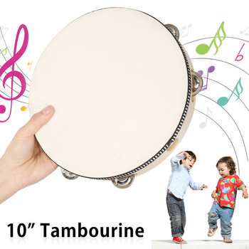 10 Hand Held Tambourine Drum Musical Instruments Children Educational Tambourine Round Percussion for KTV Party Dancing Toys