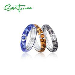 SANTUZZA Silver Rings For Women Colorful Enamel Rings Eternity Ring 925 Sterling Silver Party Fashion Jewelry Handmade Enamel