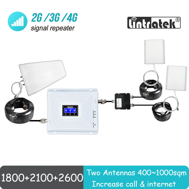 Mobile Network Signal Booster With Two Antennas Lintratek Big Cover Tri Band 1800 UMTS 2100 4G 2600 Repeater Amplifier Set