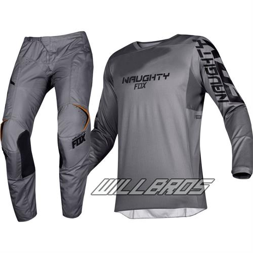 New NAUGHTY FOX 180 Prizm Stone Grey MX Gear Set Motocross Racing Dirt Bike Off-Road Adult Jersey Pants Combo