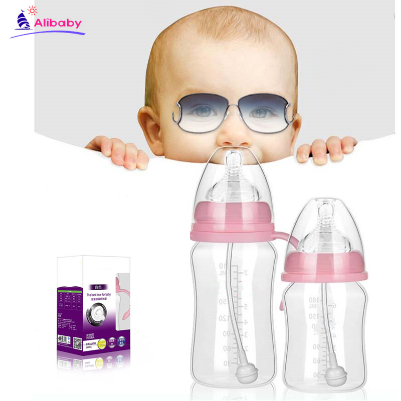 1Pcs PP Baby Feeding Bottle Safe Plastic BPA Free Anti-Slip Baby Milk Bottle 320mL  With Straw For Infant Feeding Bottle
