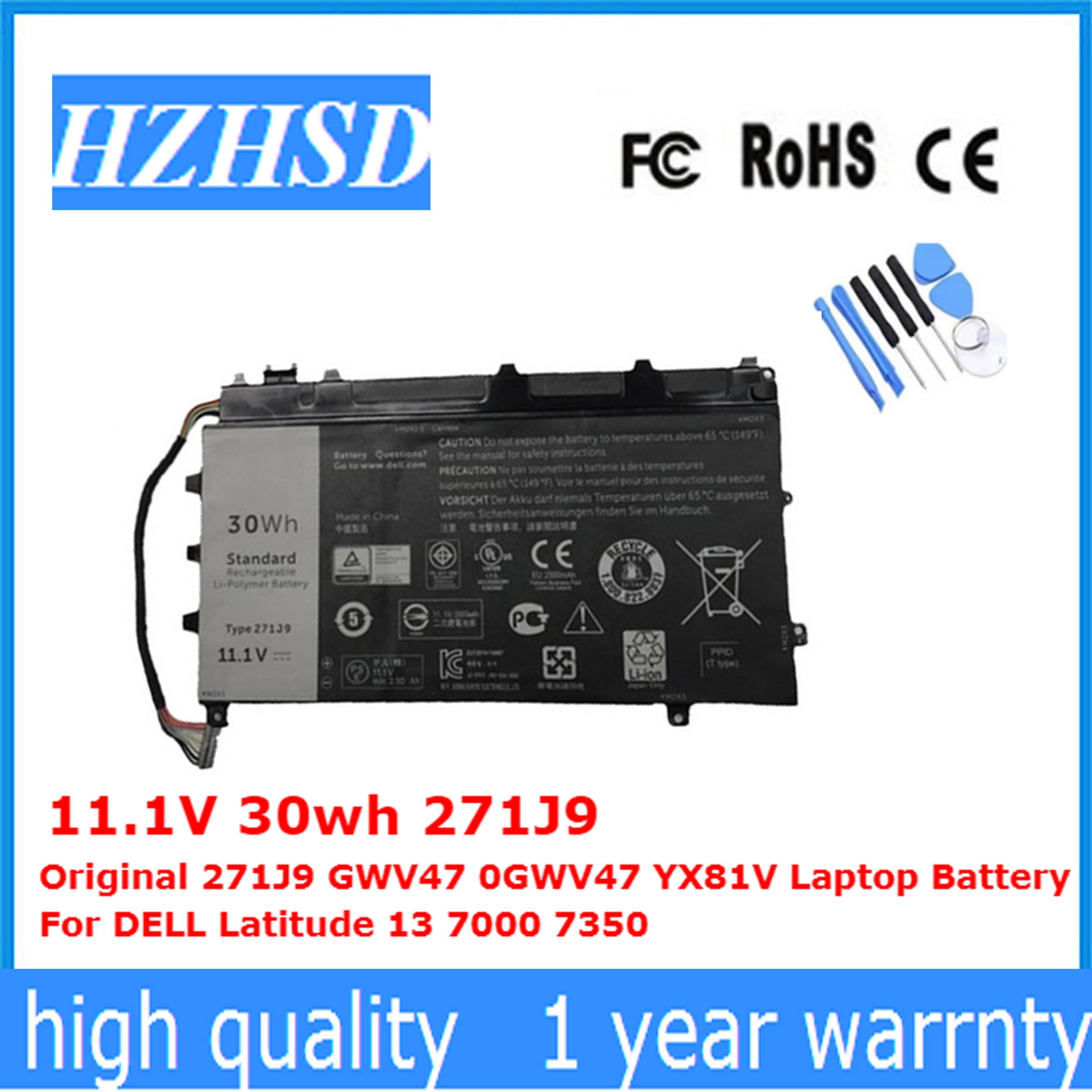 11.1V 30wh Original 271J9 GWV47 0GWV47 YX81V Laptop Battery For DELL Latitude 13 7000 7350
