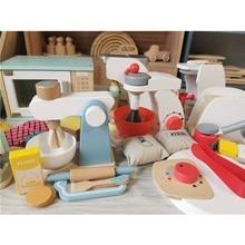 เด็กของเล่นไม้กาแฟเครื่องปิ้งขนมปังไอศครีมเครื่องผสมอาหารเครื่องคั้นน้ำผลไม้เตาอบสำหรับเด็กPretend Motessoriของเล่น