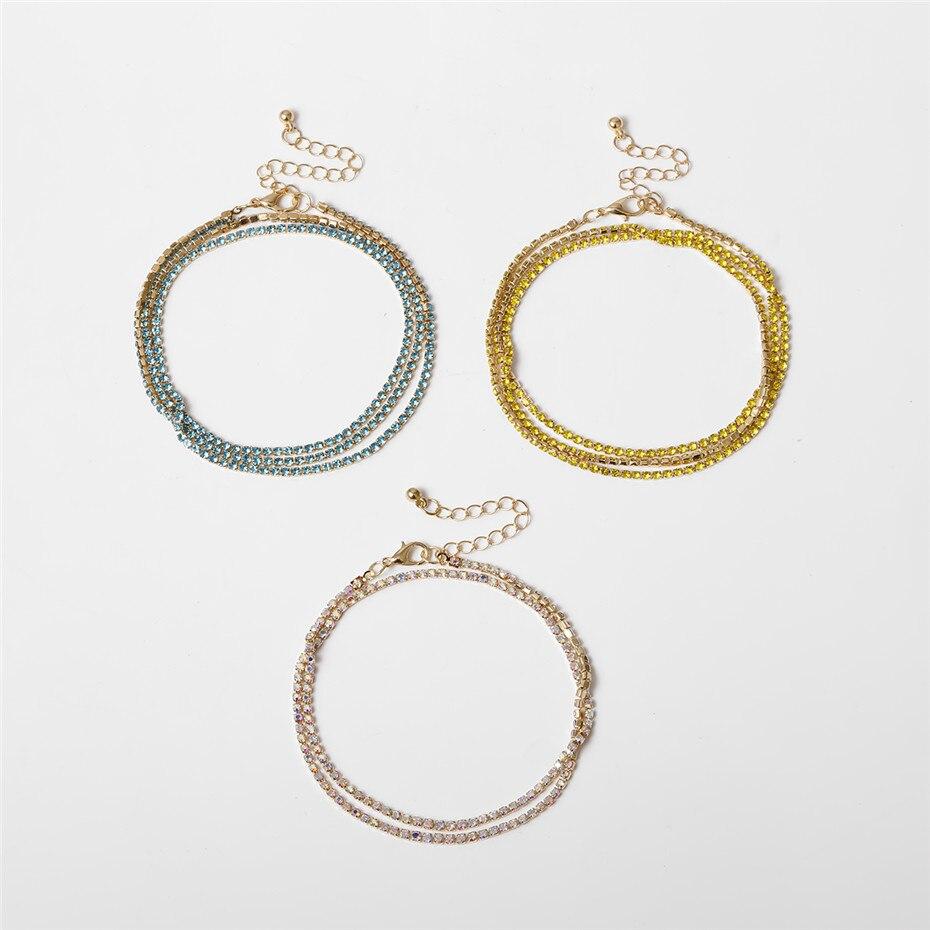 Luxury Bling Colorful Crystal Anklet Bracelet