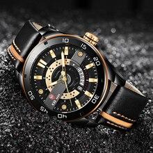 Top Luxury Brand Relogio Masculino Trend Mens Watches Leather Strap Waterproof Large Dial Calendar Quartz Watch Reloj Hombr