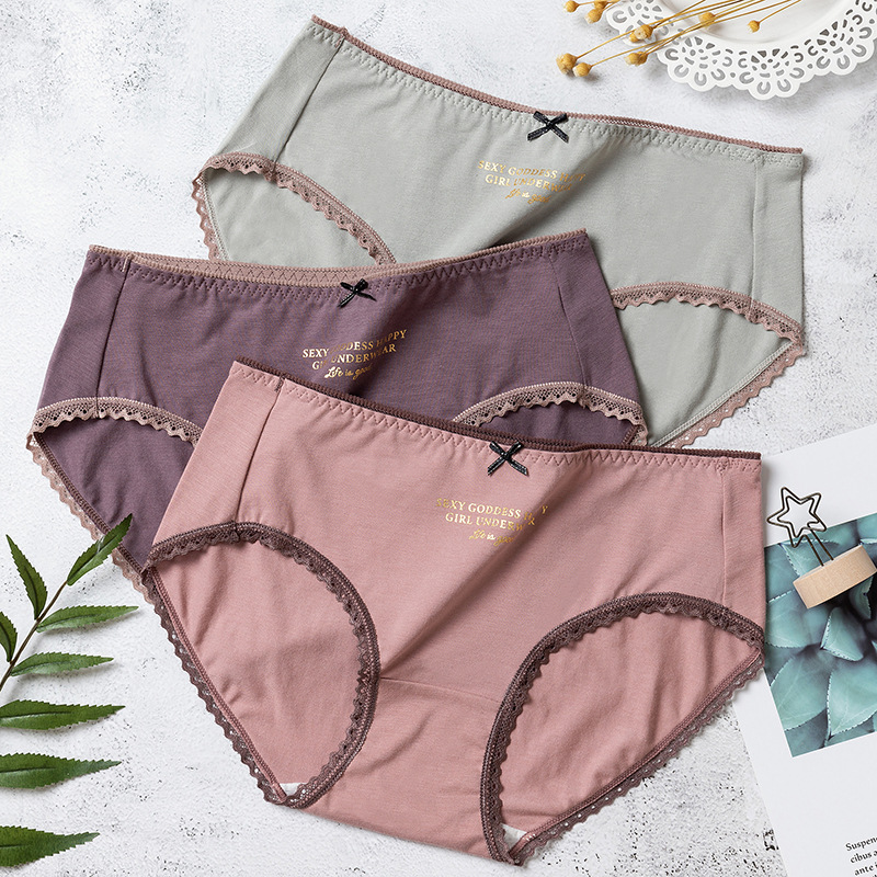 Panties Woman Breathable Cotton Women's Underwear Sexy Lace Girl Mid-waist Brief Traceless Elasticity Letter Women's Panties