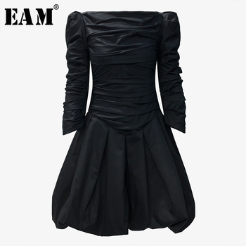 [EAM] Women Black Pleated Split Temperament Dress New Slash Neck Long Sleeve Loose Fit Fashion Tide Spring Autumn 2020 1T332