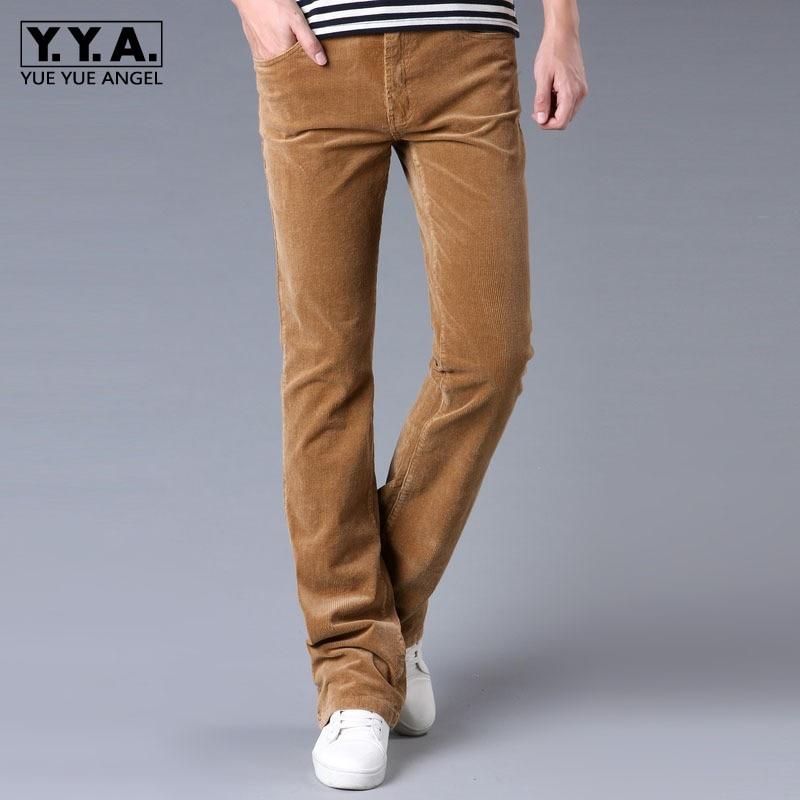 Mens Autumn Corduroy Flare Pants Khaki Slim Fit Long Trousers Male Casual Streetwear Work Bell-bottomed Cargo Pants Plus Size 38