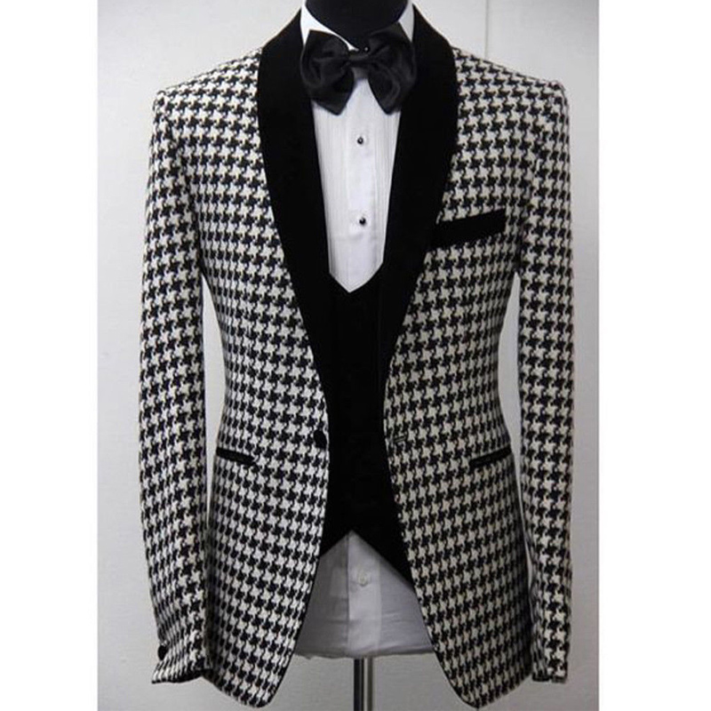 Costumes de mariage pied-de-poule sur mesure pour hommes garçons d'honneur Tuxedos de bal personnalisé homme Blazer ensemble veste Vent avec pantalon noir