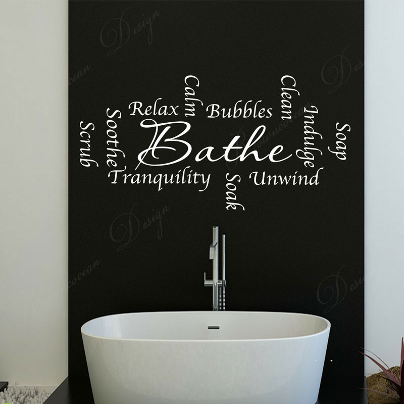 Bathroom Words Soak Bathe Wall Stickers Quote Vinyl Art Home Decor Interior Design Wall Decals Removable Waterproof Murals 4155 Wall Stickers Aliexpress