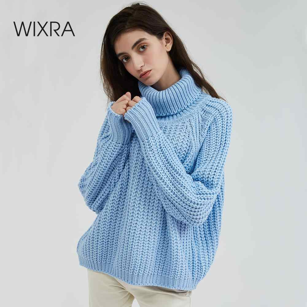 Wixra Women Turtleneck Chunky Oversized Sweater Full Sleeve Women Knit Sweaters Solid Pullover And Jumper 2019 Autumn Winter