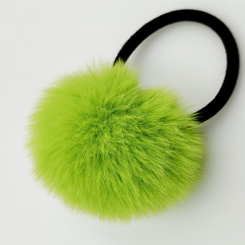 New Fashion Cute Girl's Gifts Fluffy Imitation Banny Hair Rubber Bands Pompon Elastic Ponytail Holder Hair Accessories 2 pcs/lot