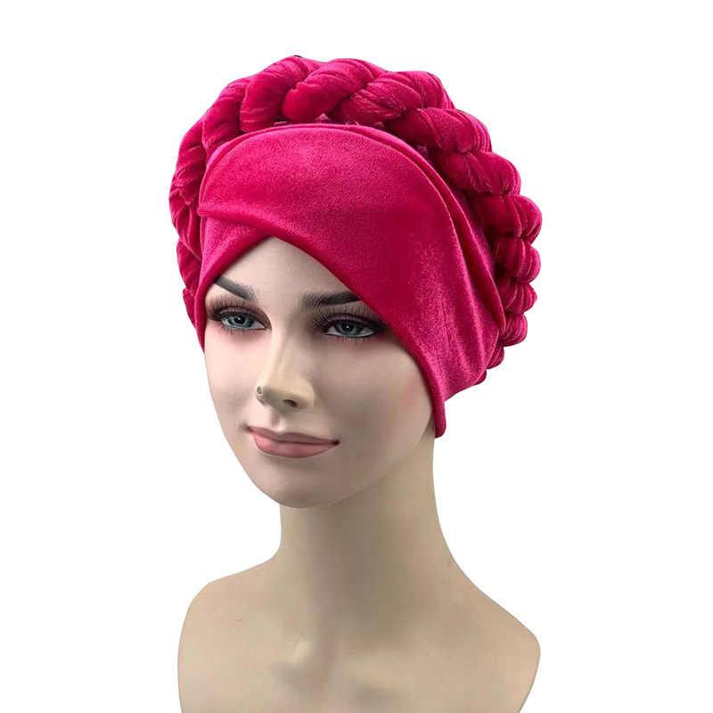 Extensible Femmes Turban Plain//Velours Plissé Tête Bande Cheveux Couvrir Chimio Chapeau abaya
