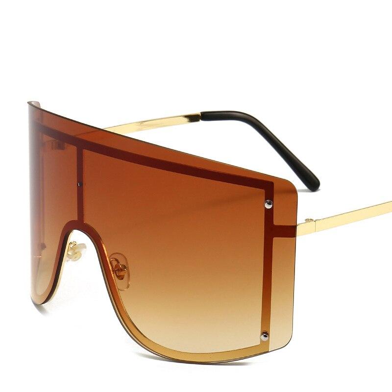 Oversized Women Blue Yellow Gradient Sunglasses Fashion Rimless Metal Female Shades Luxury Brand Designer Personality Eyewear