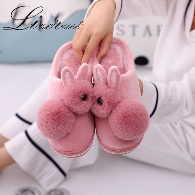 2019 New Hot Women Slippers Indoor Winter Plush Warm Slippers Cotton Non-Slip Shoes Indoor Bedroom Couple Shoes