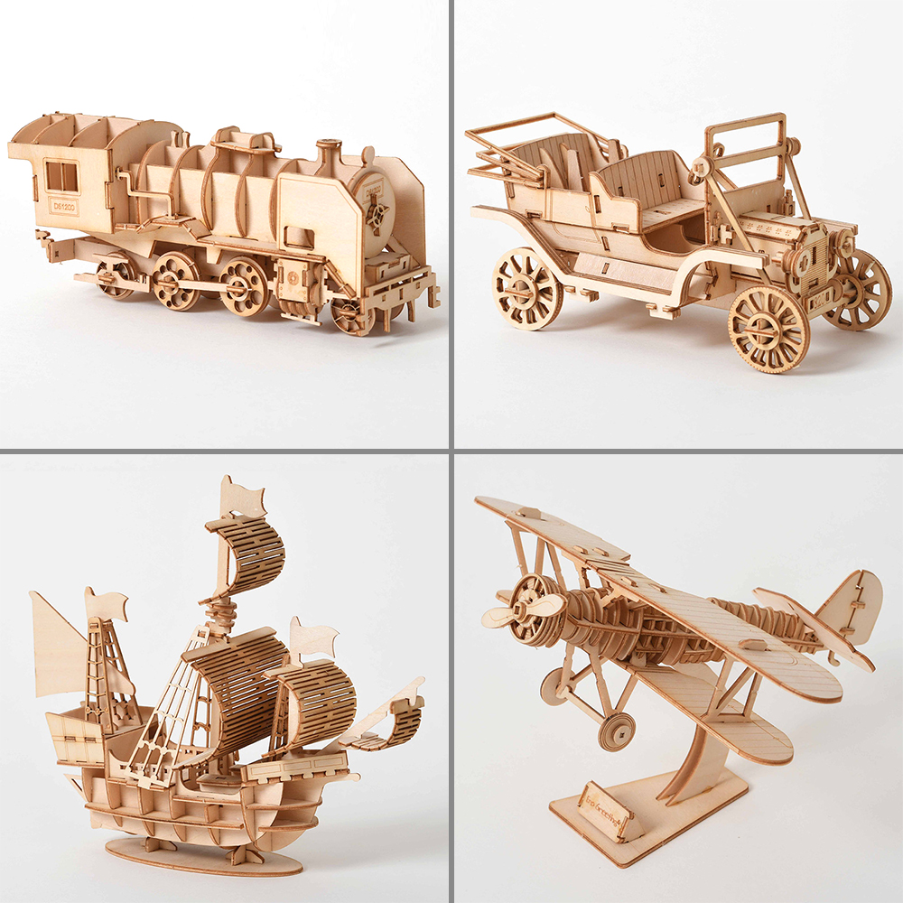 3D Wooden Car Puzzle Model DIY Aircraft Handmade Mechanical For Children Sailboat Adult Kit Mechanical Game Assembly Train