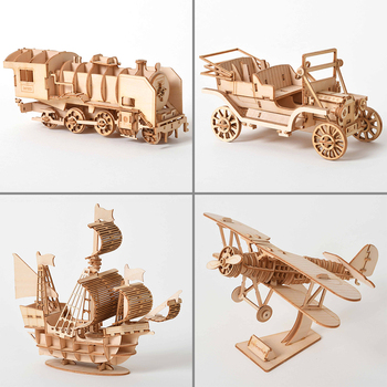 3D Wooden Car Puzzle Model DIY Aircraft Handmade Mechanical for Children Sailboat Adult Kit Mechanical Game Assembly Train rokr diy 3d wooden puzzle train model clockwork gear drive locomotive assembly model building kit toys for children adult lk701