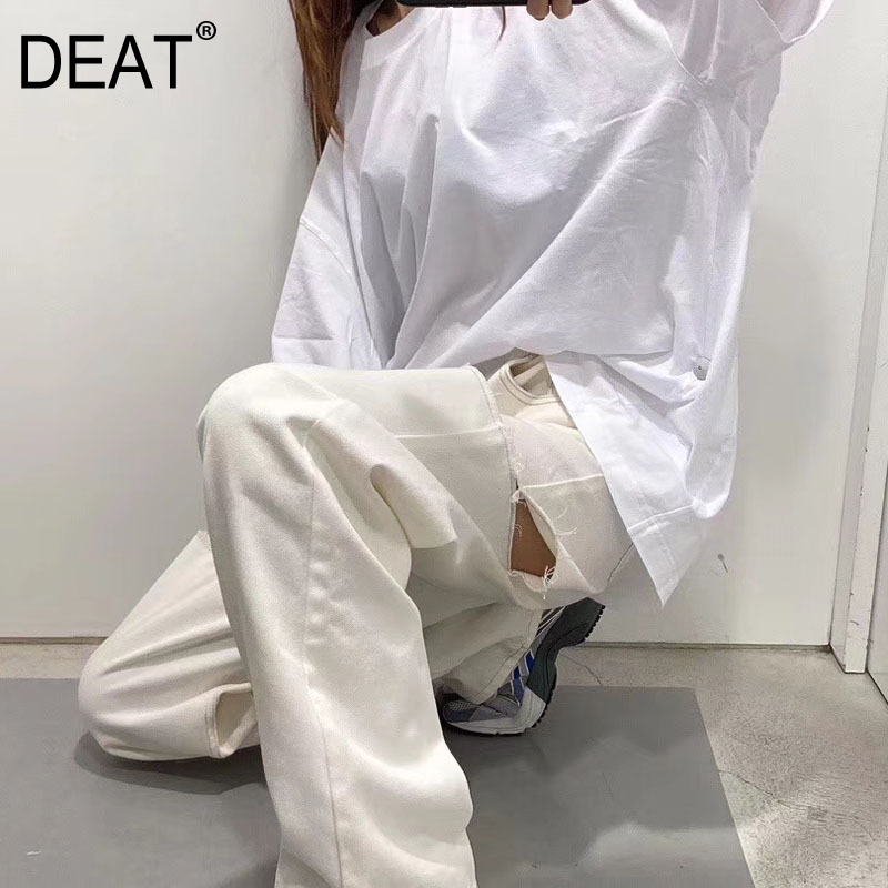 DEAT 2020 New Summer Runway Styles Fashion Women Clothes Cuted Broken Hole White Full Length Pants Female Jeans WL72400L