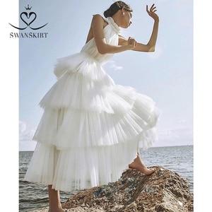 Image 3 - Swanskirt Бохо бальное платье свадебное платье 2020 светильник с открытой спиной Иллюзия Ruched тюль принцесса невесты по индивидуальному заказу Vestido de novia YP01