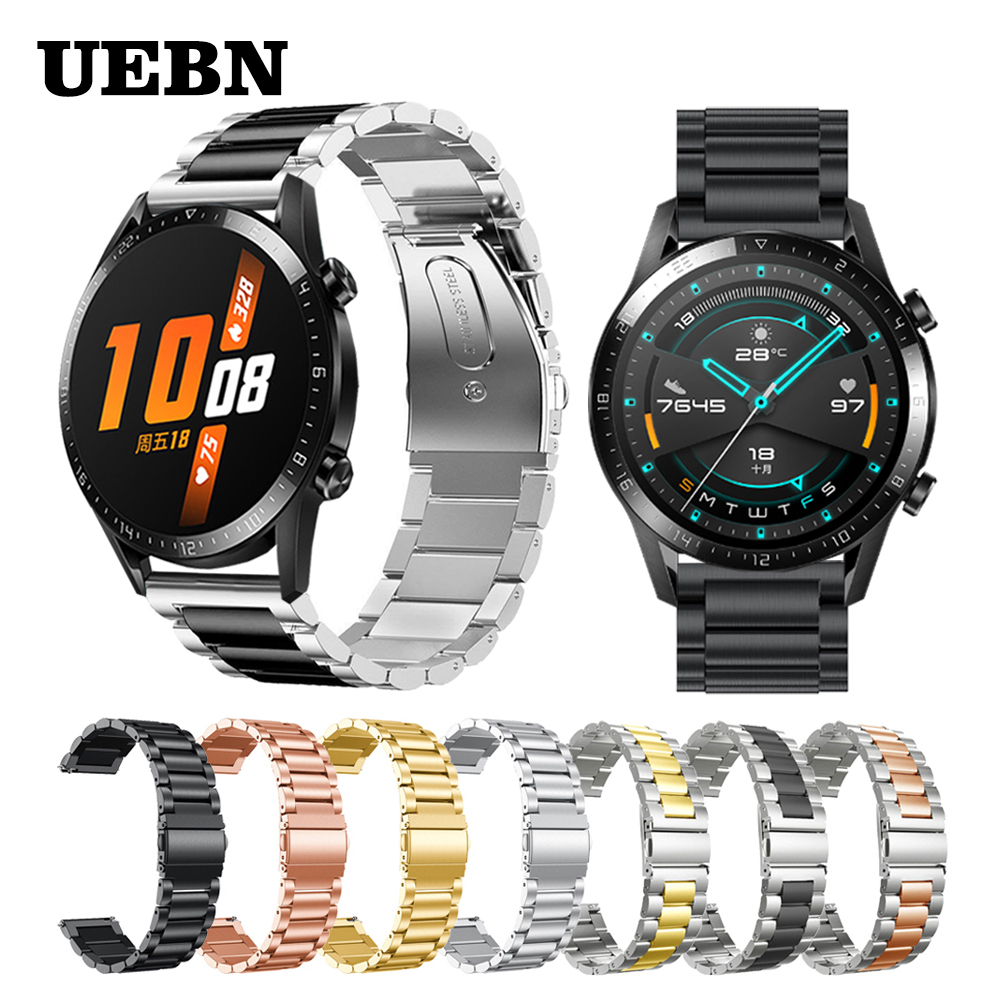 UEBN 20mm 22mm Stainless Steel Replacement Band For HUAWEI WATCH GT 2 46mm 42mm Strap HONOR Magic GT Active Watchbands