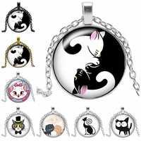 2019 Nuevo dibujo creativo Yin y Yang negro y blanco gato collar regalo vidrio convexo redondo colgante collar joyería de moda