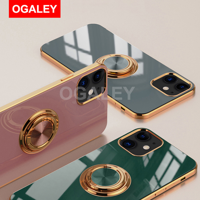 Original Silicone Cover For iPhone 12 12 Pro Max 11 Pro Max Case For iPhone 12 mini luxury Plating Phone Case for iphone11 Cover 6