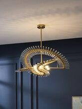 Postmodern luxe LED lustre en cristal nordique créatif salon suspendus lumières hôtel décor lampes restaurant rond éclairage
