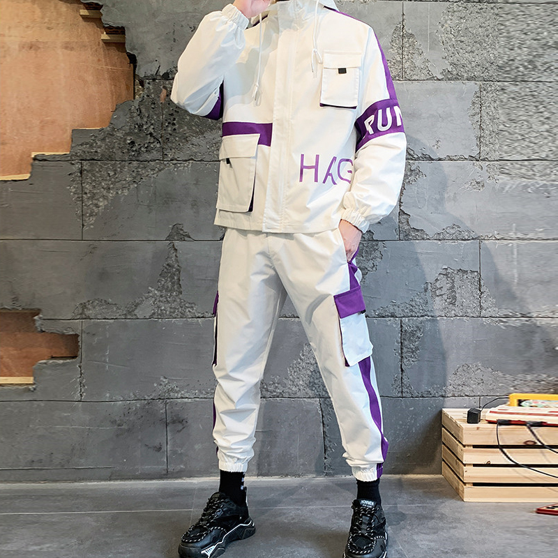 2020 Men's Fashion Sets Comfortable Casual Jacket + Multi-pocket Cargo Pants 2 Pieces Set Purple Sportswear Sets