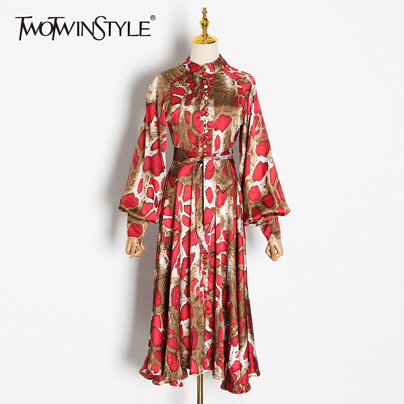 TWOTWINSTYLE Casual Print Dresses For Female Stand Collar Lantern Long Sleeve High Waist Lace Up Irregular Hem Dress Female Tide